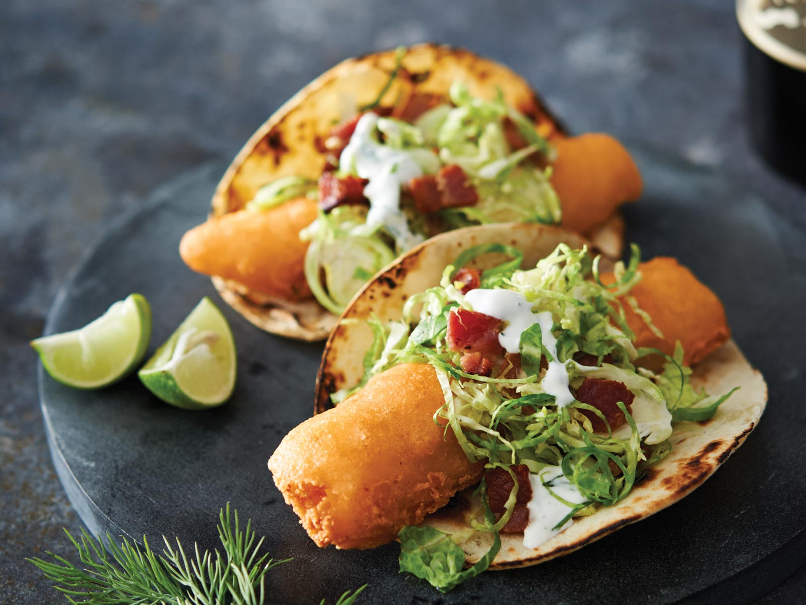 Alaska Cod Tacos with Brussels Sprout & Bacon Slaw and Dilled Sour Cream
