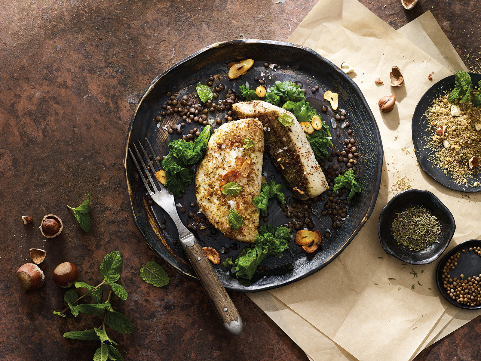 Dukkah-Crusted Wild Alaska Pollock with Lentils and Greens