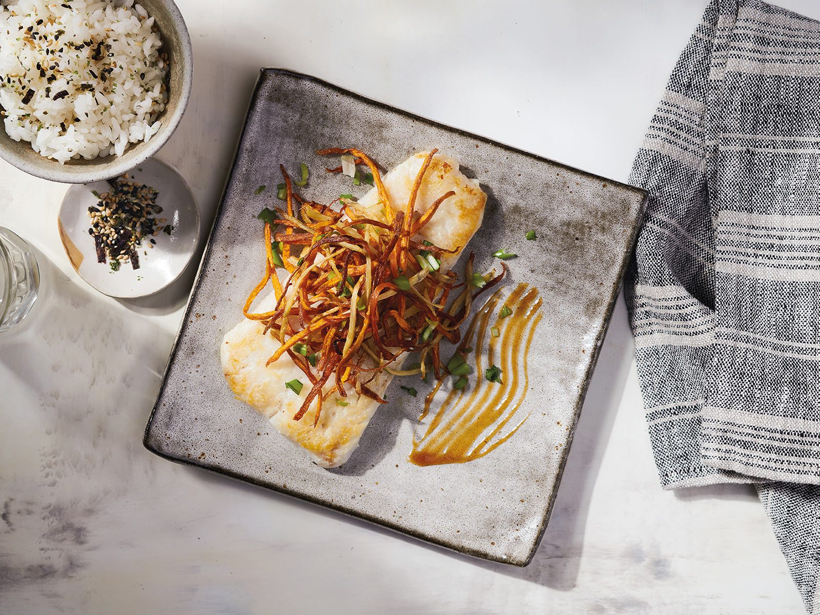 Roasted Wild Alaska Pollock with Frizzled Carrots & Ginger